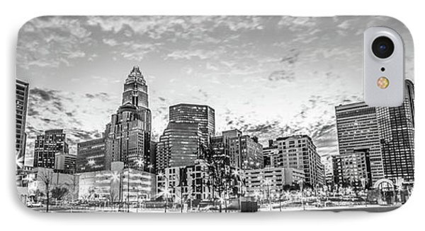 Charlotte Skyline Black And White Panorama Photo IPhone Case by Paul Velgos