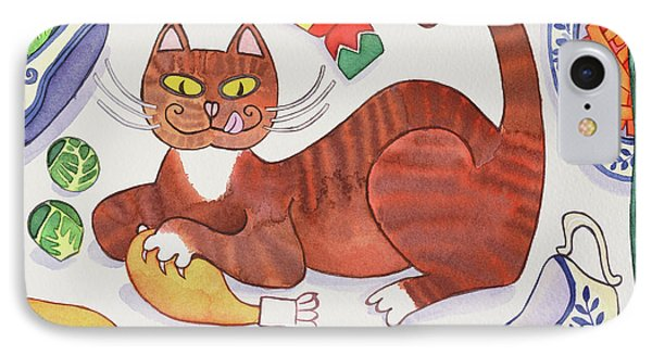 Christmas Cat And The Turkey IPhone 7 Case by Cathy Baxter