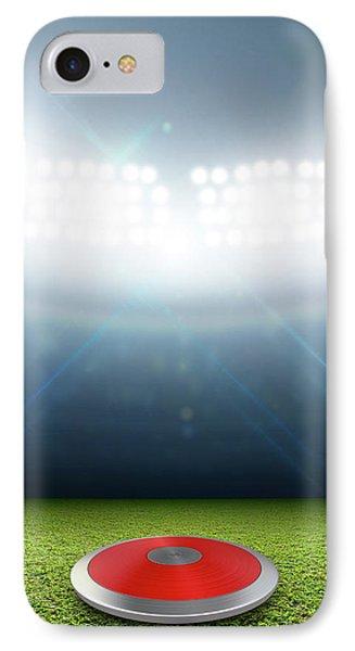 Discus In Generic Floodlit Stadium IPhone Case by Allan Swart