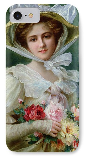 Elegant Lady With A Bouquet Of Roses IPhone Case by Emile Vernon