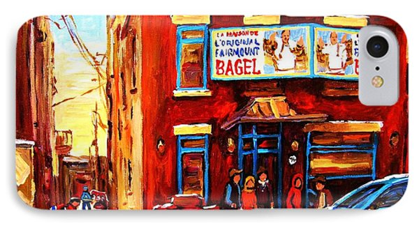 Fairmount Bagel In Winter IPhone Case by Carole Spandau