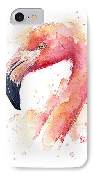Flamingo Watercolor  IPhone 7 Case by Olga Shvartsur