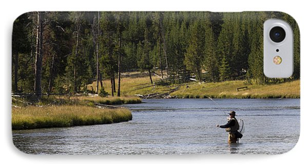 Fly Fishing In The Firehole River Yellowstone Phone Case by Dustin K Ryan
