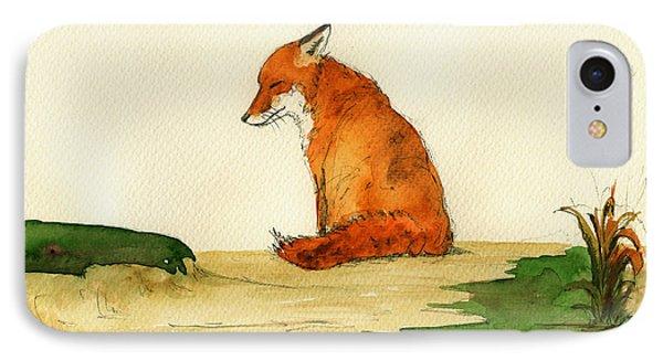 Fox Sleeping Painting IPhone Case by Juan  Bosco