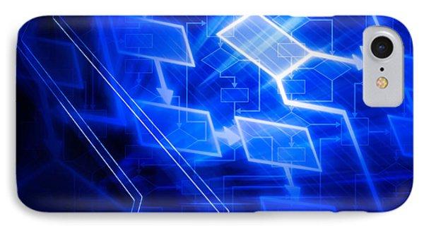 Glowing Blue Flowchart IPhone Case by Oleksiy Maksymenko