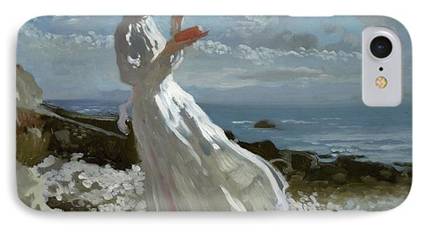 Grace Reading At Howth Bay IPhone Case by Sir William Orpen