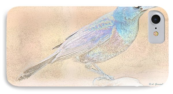 IPhone Case featuring the digital art Great Tailed Grackle by A Gurmankin
