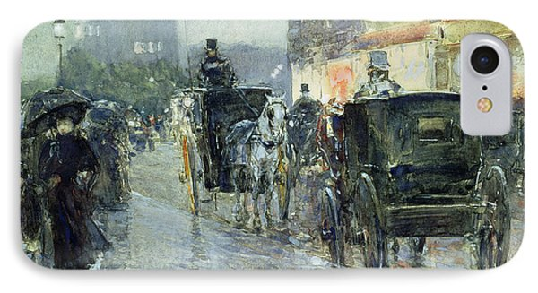 Horse Drawn Cabs At Evening In New York IPhone Case by Childe Hassam