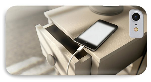 Illuminated Cellphone Next To Bed IPhone Case by Allan Swart