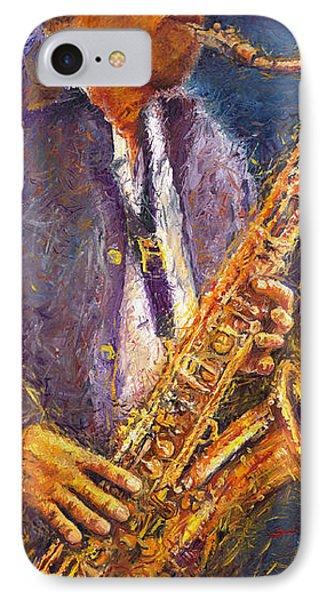 Jazz Saxophonist IPhone 7 Case by Yuriy  Shevchuk