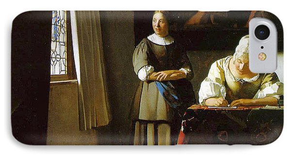 Lady Writing A Letter With Her Maid IPhone Case by Johannes Vermeer