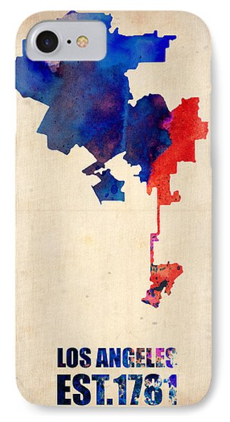 Los Angeles Watercolor Map 1 IPhone Case by Naxart Studio