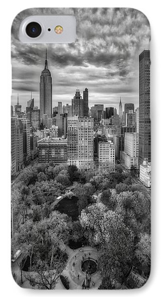 Madison Square Park Aerial View IPhone Case by Susan Candelario