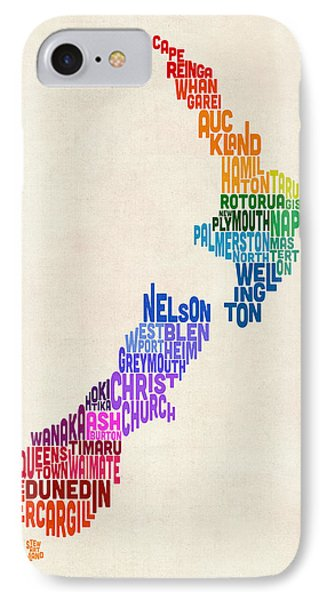 New Zealand Typography Text Map IPhone Case by Michael Tompsett