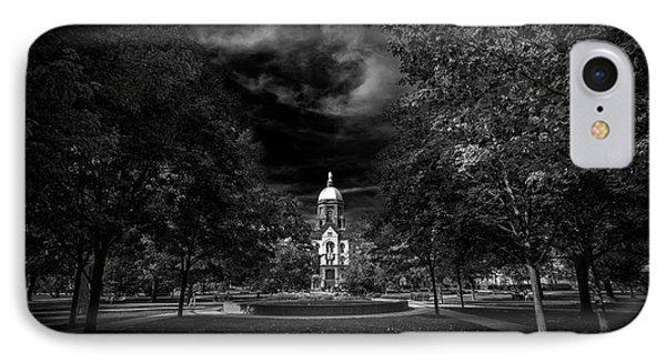 Notre Dame University Black White IPhone 7 Case by David Haskett