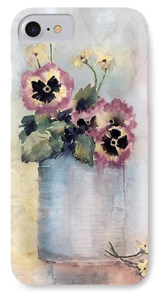 Pansies In A Can IPhone Case by Arline Wagner