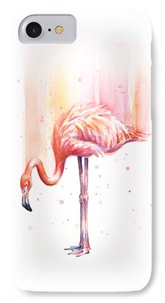 Pink Flamingo Watercolor Rain IPhone 7 Case by Olga Shvartsur