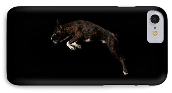 Purebred Boxer Dog Isolated On Black Background IPhone Case by Sergey Taran