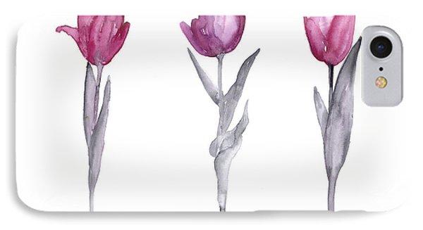 Purple Tulips Watercolor Painting IPhone 7 Case by Joanna Szmerdt