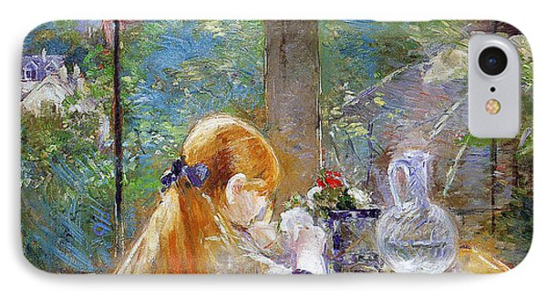 Red-haired Girl Sitting On A Veranda Phone Case by Berthe Morisot