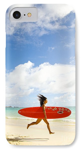 Running With Surfboard Phone Case by Dana Edmunds - Printscapes