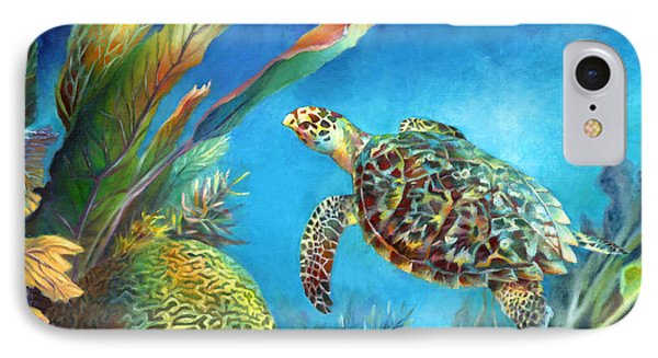 Sea Escape Iv - Hawksbill Turtle Flying Free IPhone Case by Nancy Tilles