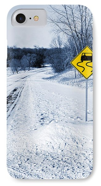 Snow Covered Winter Road Blue Tone IPhone Case by Donald  Erickson