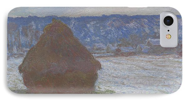 Stack Of Wheat Snow Effect, Overcast Day IPhone Case by Claude Monet