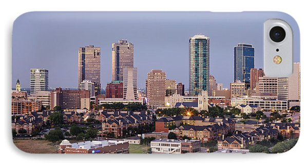 Tall Buildings In Fort Worth At Dusk IPhone Case by Jeremy Woodhouse
