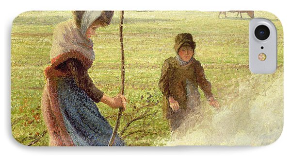 White Frost IPhone Case by Camille Pissarro