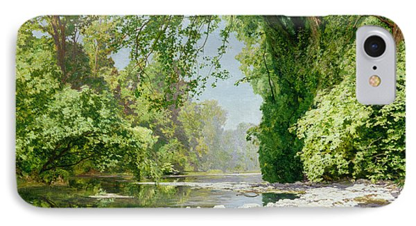 Wooded Riverscape IPhone Case by Leopold Rolhaug