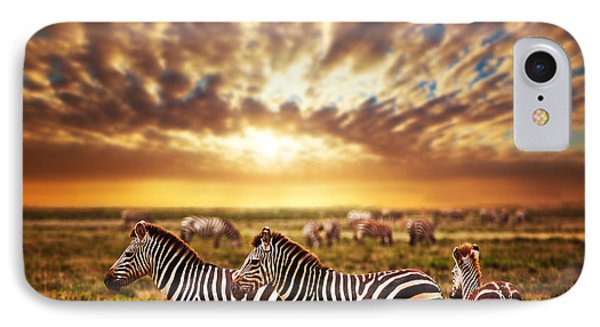 Zebras Herd On African Savanna At Sunset. Phone Case by Michal Bednarek
