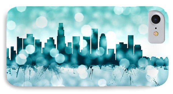 Los Angeles California Skyline IPhone Case by Michael Tompsett