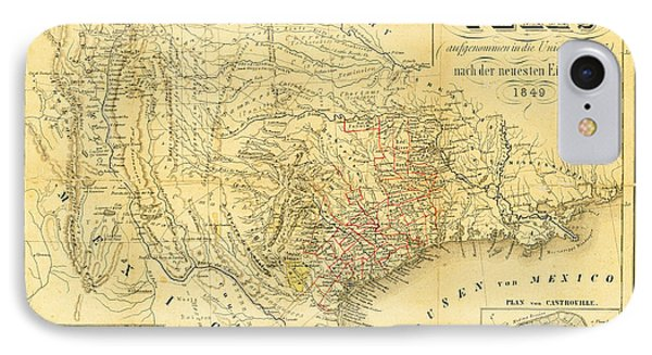 1849 Texas Map IPhone Case by Digital Reproductions