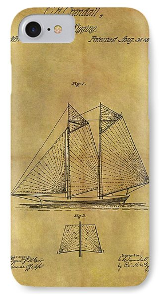 1869 Sailing Ship Patent IPhone Case by Dan Sproul