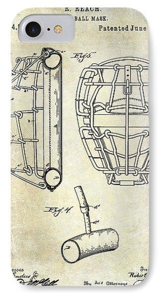 1887 Baseball Mask Patent IPhone Case by Jon Neidert