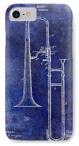 1902 Trombone Patent Blue IPhone Case by Jon Neidert