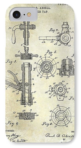 1903 Beer Tap Patent IPhone Case by Jon Neidert