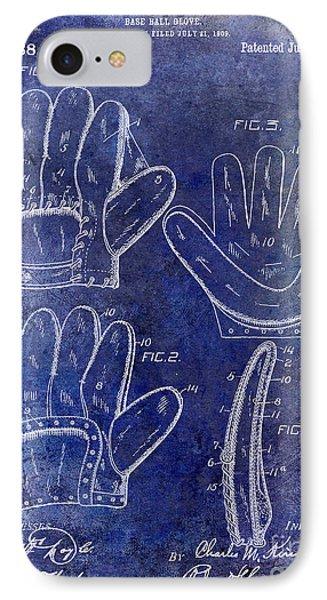 1910 Baseball Glove Patent Blue IPhone Case by Jon Neidert
