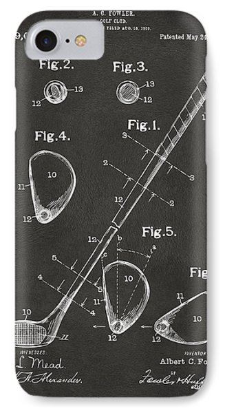 1910 Golf Club Patent Artwork - Gray IPhone 7 Case by Nikki Marie Smith