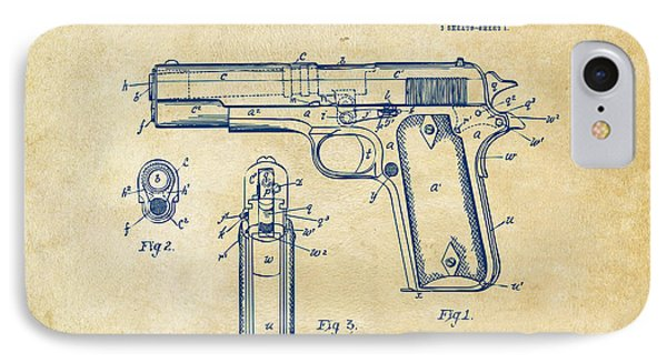1911 Colt 45 Browning Firearm Patent Artwork Vintage IPhone Case by Nikki Marie Smith