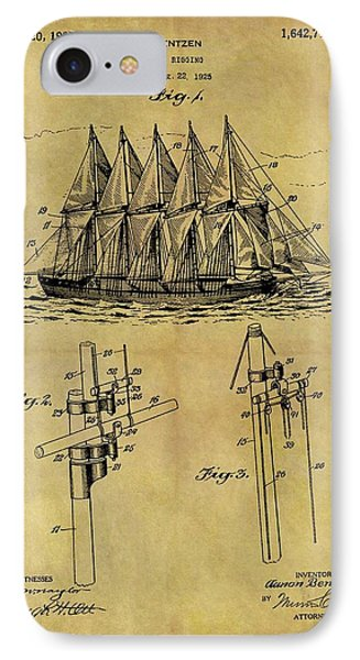 1927 Sail Ship Patent IPhone Case by Dan Sproul