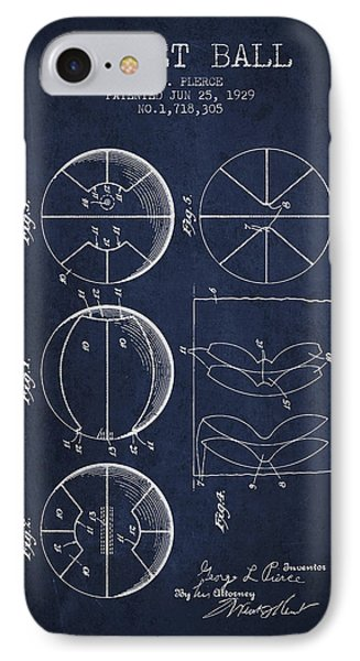 1929 Basket Ball Patent - Navy Blue IPhone Case by Aged Pixel