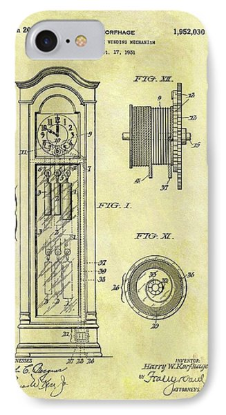 1934 Grandfather Clock Patent IPhone Case by Dan Sproul