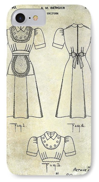 1940 Waitress Uniform Patent IPhone Case by Jon Neidert
