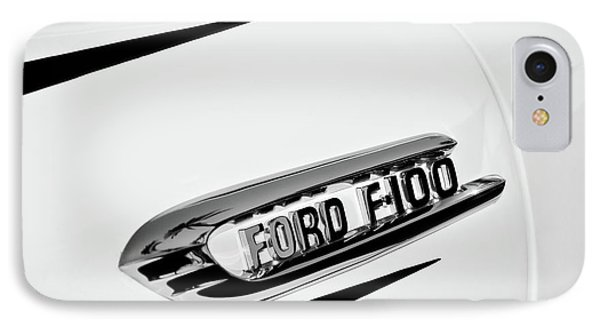 1950's Ford F-100 Fordomatic Pickup Truck Emblem -0129bw IPhone Case by Jill Reger