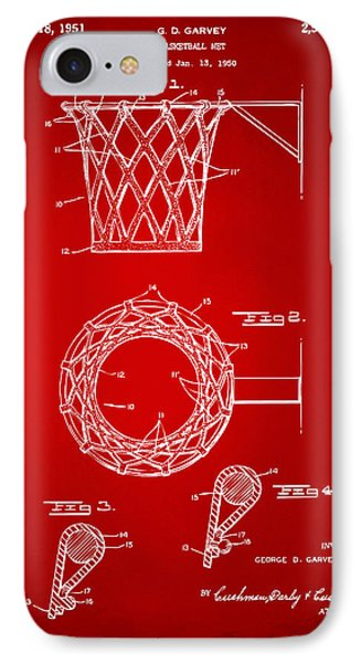 1951 Basketball Net Patent Artwork - Red IPhone Case by Nikki Marie Smith