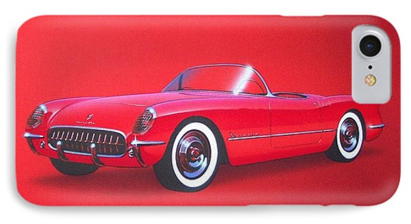 1953 Corvette Classic Vintage Sports Car Automotive Art IPhone 7 Case by John Samsen