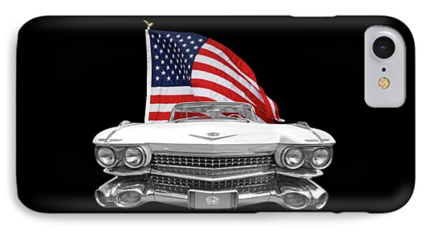 1959 Cadillac With Us Flag IPhone Case by Gill Billington