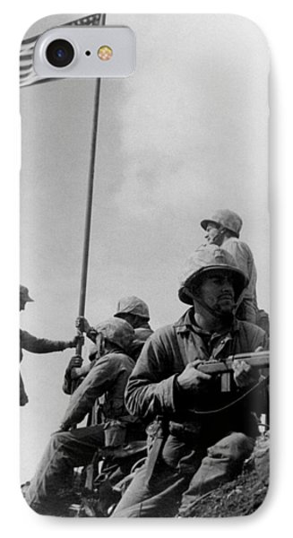 1st Flag Raising On Iwo Jima  Phone Case by War Is Hell Store